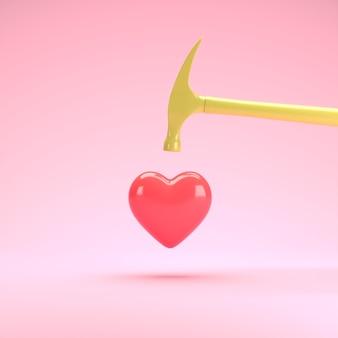Coeur de forme rouge flottant avec un marteau jaune sur fond bleu idée de concept valentine minimale rendu 3d