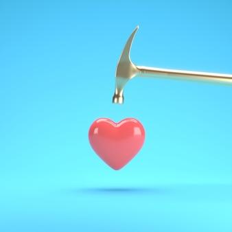 Coeur de forme rouge flottant avec un marteau d'or sur fond bleu idée de concept valentine minimale rendu 3d