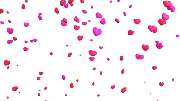 Coeur géométrique 3d low poly tombant du ciel sur fond blanc, concept de saint valentin, toile de fond de carte de voeux amour élégant