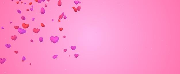 Coeur géométrique 3d low poly tombant du ciel sur fond rose, concept de saint valentin, toile de fond de carte de voeux amour élégant avec espace copie