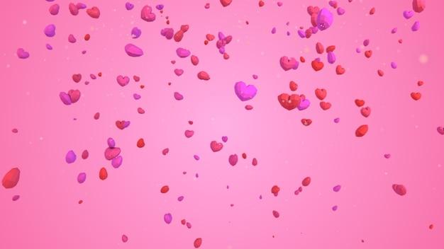 Coeur géométrique 3d low poly tombant du ciel sur fond rose, concept de saint valentin, toile de fond de carte de voeux amour élégant