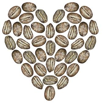 Coeur de grain de café aquarelle. illustration dessinée à la main.