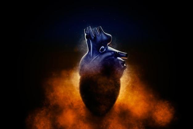 Coeur humain abstrait dans une fumée sur fond noir. illustration 3d.