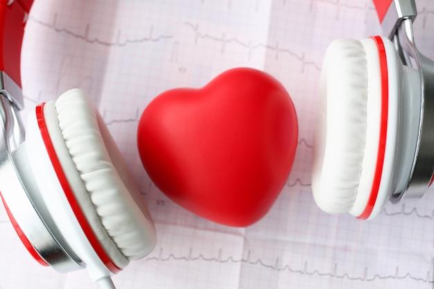 Coeur de jouet rouge un casque sur cardiogramme papier