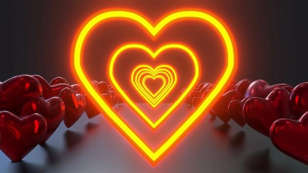Coeur lumineux avec des ballons coeurs
