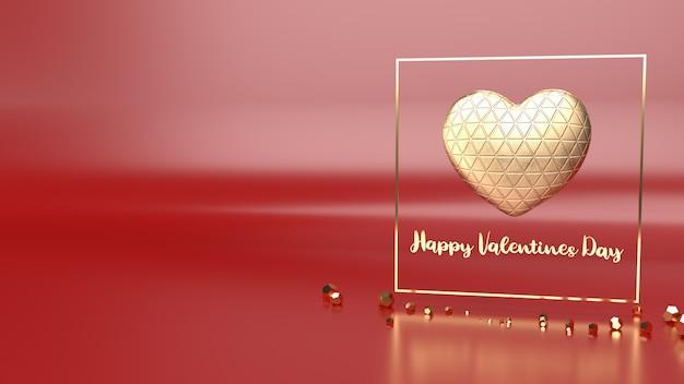 Coeur d'or et rendu 3d fram d'or pour le contenu de la saint-valentin.