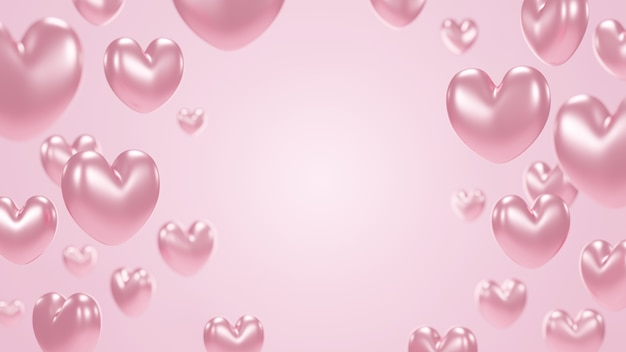 Coeur en or rose sur fond rose avec copie espace rendu 3d