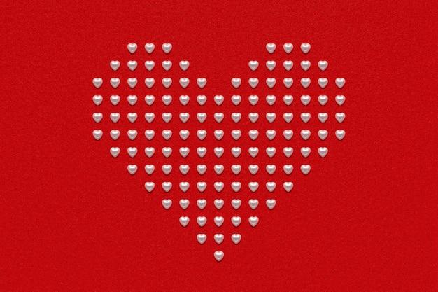Coeur perlé sur papier velours velours rouge, décoration romantique
