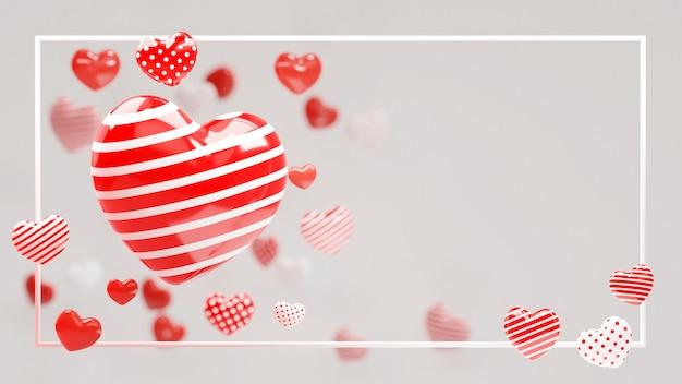 Coeur de point de rayure moderne blanc rouge 3d sur fond blanc. illustration 3d avec cadre