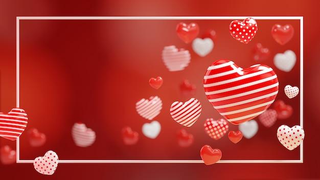Coeur de point de rayure moderne blanc rouge 3d sur fond rouge. illustration 3d avec cadre.