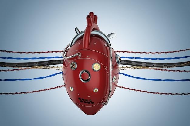 Coeur robotique rouge de rendu 3d avec des fils sur fond bleu