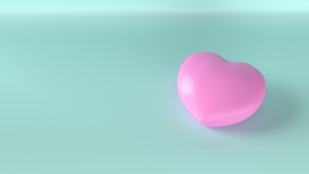 Le coeur rose sur bleu pour le rendu 3d de contenu de santé.