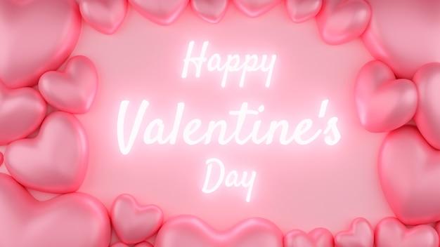 Coeur rose avec fond rose et texte. concept de la saint-valentin. illustration de rendu 3d.