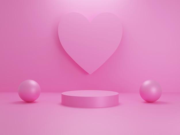 Coeur rose pastel ou toile de fond de scène de podium en forme d'amour pour présentoir de produit avec objet sphère