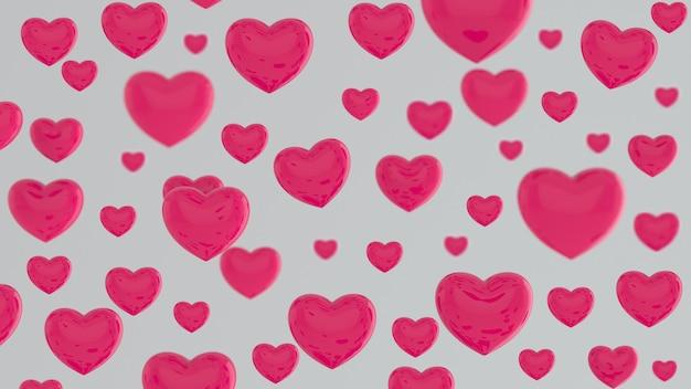 Coeur rose volant sur un mur blanc