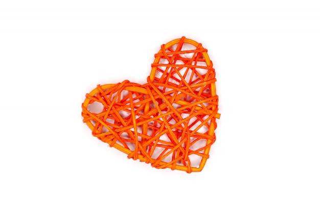 Coeur en rotin orange