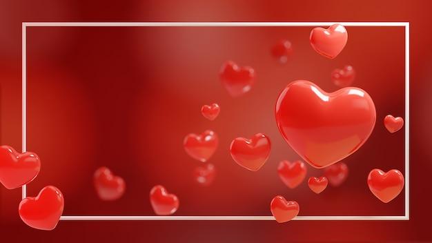Coeur rouge 3d sur fond rouge. illustration 3d avec cadre.