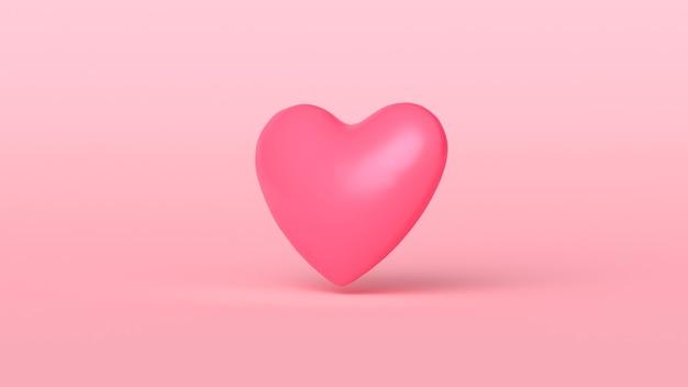 Coeur rouge 3d mignon sur fond rose. modèle de carte de voeux coeur doux concept minimal. illustration de rendu 3d