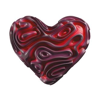 Coeur rouge abstrait, illustration 3d