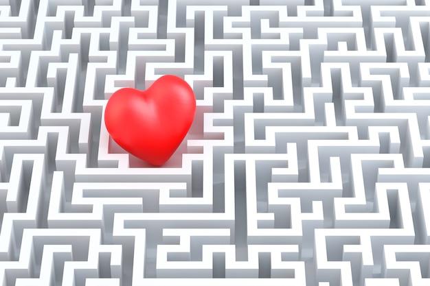 Coeur rouge au milieu du labyrinthe. illustration 3d
