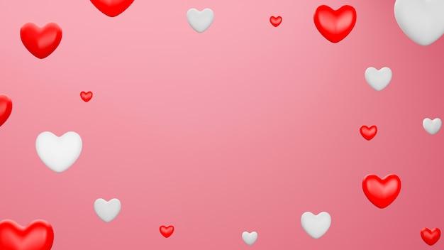 Coeur rouge et blanc avec fond noir. concept de la saint-valentin. illustration de rendu 3d.
