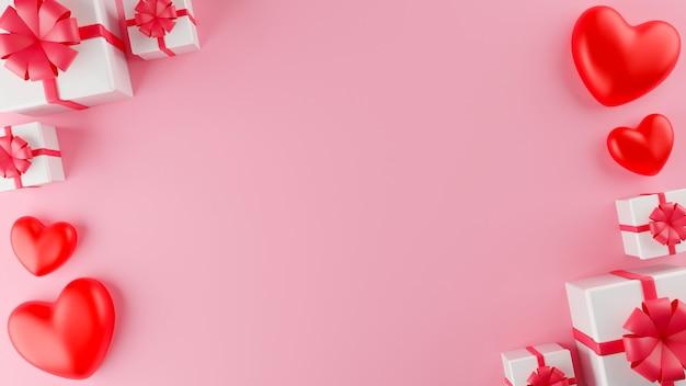 Coeur rouge et boîte cadeau blanche fermée avec ruban rouge. concept de la saint-valentin. illustration de rendu 3d.