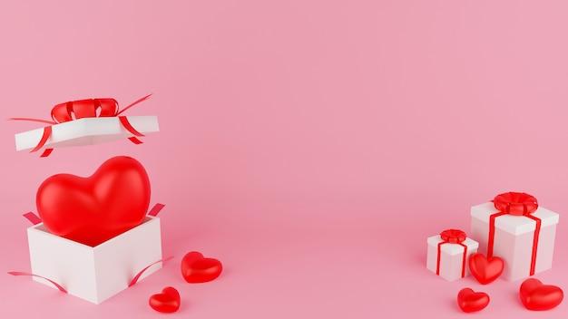 Coeur rouge et boîte cadeau blanche ouverte et fermée avec ruban rouge. concept de la saint-valentin. illustration de rendu 3d.