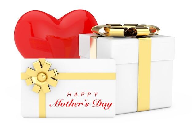 Coeur Rouge, Boîte-cadeau En Carton Blanc, Carte-cadeau Blanche Avec Signe De Bonne Fête Des Mères Et Ruban Doré Avec Noeud Sur Fond Blanc. Rendu 3d Photo Premium