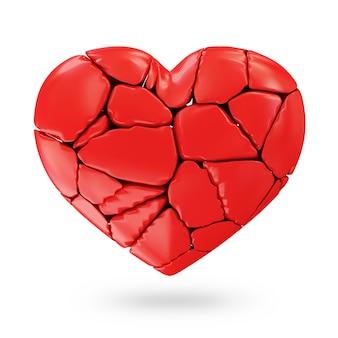 Coeur rouge brisé isolé sur fond blanc