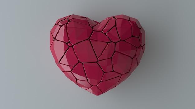 Coeur rouge brisé sur mur gris