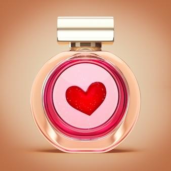 Coeur rouge dans le flacon de parfum elixir d'amour saint valentin