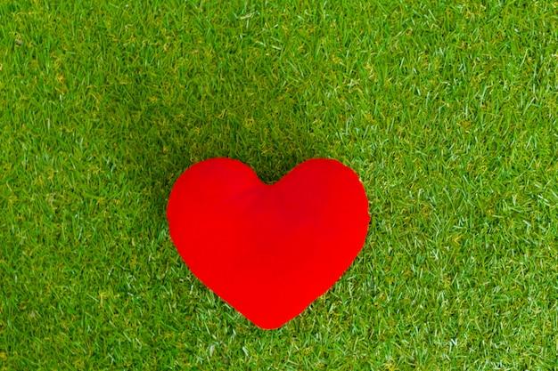 Coeur rouge dans l'herbe