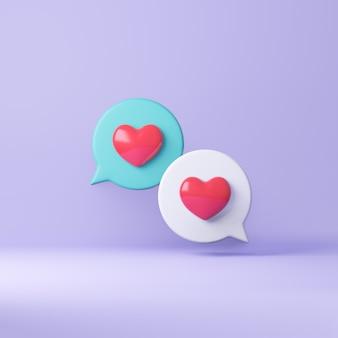 Coeur rouge de dessin animé 3d avec bulle. rendu d'illustrations 3d.
