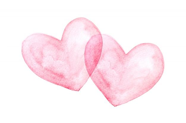 Le coeur rouge est placé sur un fond blanc, aquarelle.