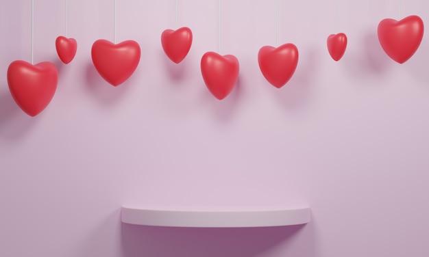 Coeur rouge et étagère ronde rose.
