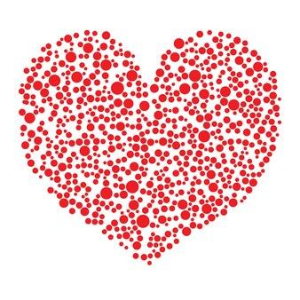 Coeur rouge fait de cercles sur fond blanc - illustration vectorielle