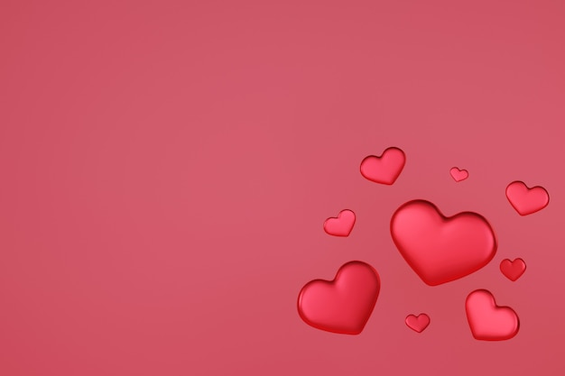 Coeur rouge flottant, l'amour et la saint valentin célèbrent,