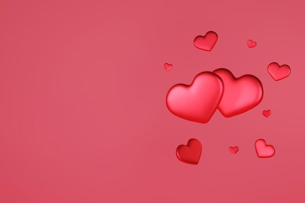 Coeur rouge flottant rendu 3d, amour et saint valentin célèbrent,