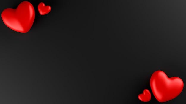 Coeur rouge avec fond noir. concept de la saint-valentin. illustration de rendu 3d.