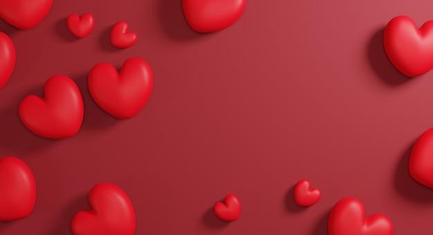 Coeur rouge sur fond de papier avec copie espace rendu 3d