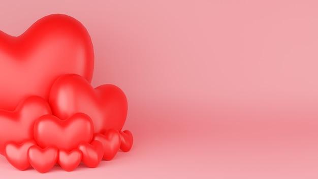 Coeur rouge avec fond rose. concept de la saint-valentin. illustration de rendu 3d.