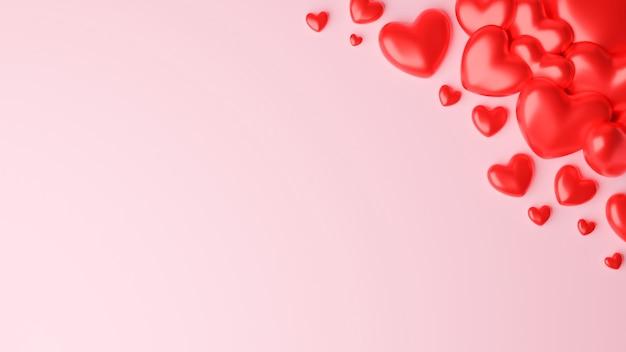 Coeur rouge sur fond rose. concept de la saint-valentin. illustration de rendu 3d