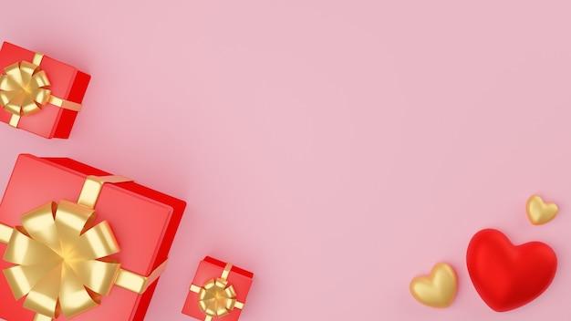 Coeur rouge et or et boîte-cadeau rouge fermée avec ruban d'or. concept de la saint-valentin. illustration de rendu 3d