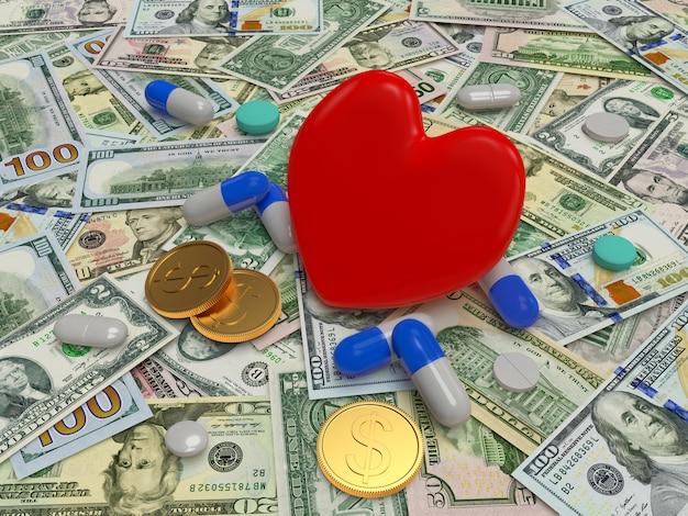 Coeur rouge avec des pilules sur les billets d'un dollar.