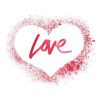 Coeur rouge pulvérisé isolé sur fond blanc - valentine's card
