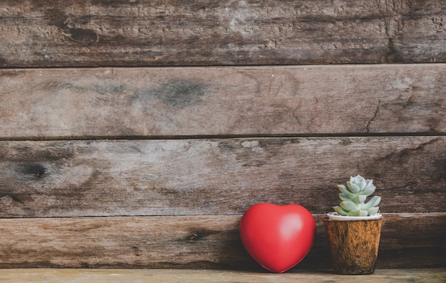 Coeur rouge saint valentin décoré de pots de cactus sur fond rustique en bois