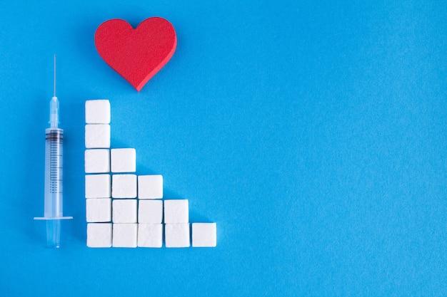 Coeur rouge, sucre et seringue sur le bleu