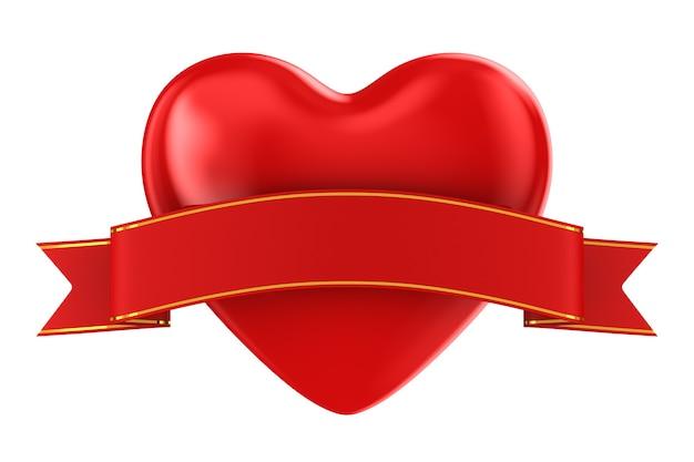Coeur et ruban. rendu 3d isolé
