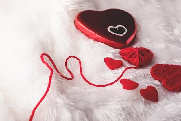 Coeur, saint valentin, vue de dessus, coeur rouge saint valentin