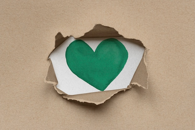 Coeur vert à l'intérieur du carton kraft déchiré marron écologique